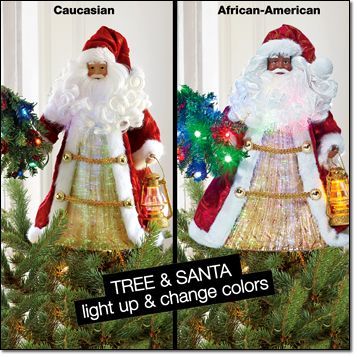 """Fiber-Optic Saint Nicholas Tree Topper*  AVON EXCLUSIVE  Santa tree topper glows with fiber-optic color-changing lights. 13 1/2"""" H x 7 1/4"""" W x 5 3/4"""" D. Uses three AAA batteries (not included). Polyester and plastic. Christmas 2013"""