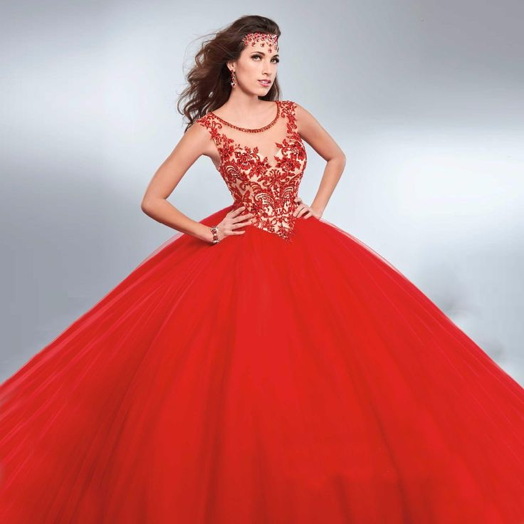 Find More Quinceanera Dresses Information about Red Quinceanera Dresses 2017 Lace Appliques See Through Tulle Masquerade Ball Gowns For 15 Years Sweet 16 Prom Gowns CR154,High Quality gowns online,China gown meaning Suppliers, Cheap gowns for pregnant women from Missu Wedding Dresses Store on Aliexpress.com