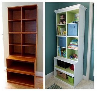 add crown molding to bookshelf: Bookshelves, Idea, Furniture Makeovers, Diy Crafts, Paintings Cabinets, Colors Splash, Crowns Moldings, Diy Projects, Kids Rooms