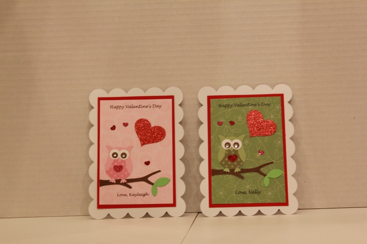 Handmade Valentine's Day Cards. I am into owls this year.  Each classmate, teacher and awesome office staff got one!