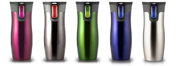 Contigo Travel Mug - my friend raves about these.  She'll toss a mug full of coffee into her laptop bag with electronics...  she's that confident.  On my wish list.