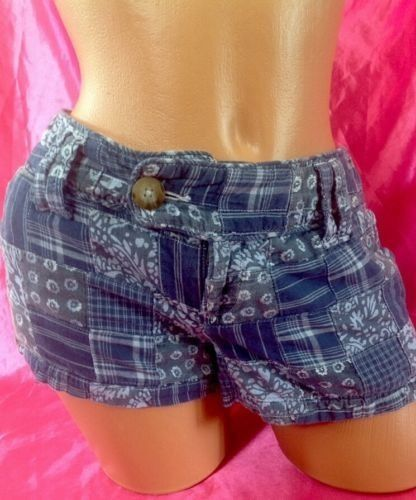 ENDS TODAY $10 #American Eagle Shorts 4 Women Blue Cotton Print Casual Patchwork Floral Stripe #AmericanEagleOutfitters #CasualShorts