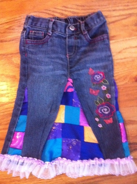 Upcycle Denim Skirt by HeadiesFlowerPatch on Etsy, $35.00