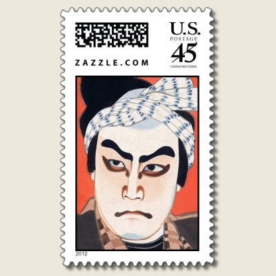 Cool oriental  japanese kabuki actor painting art postage stamps by TheGreatestTattooArt