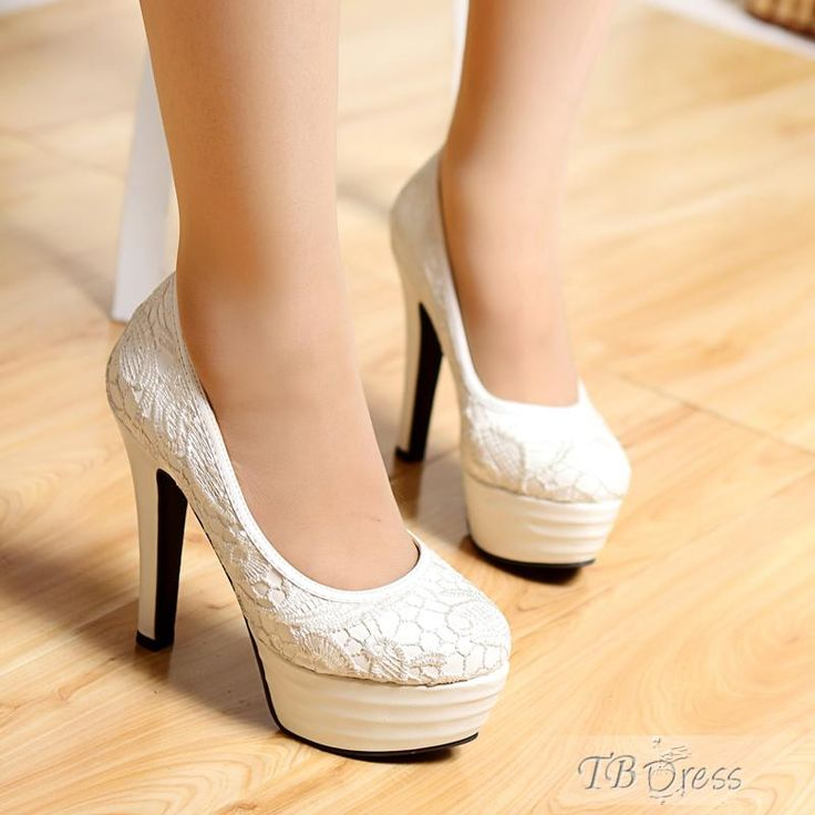 Exquisite White Stiletto Platform Heels Prom Shoes with Lace