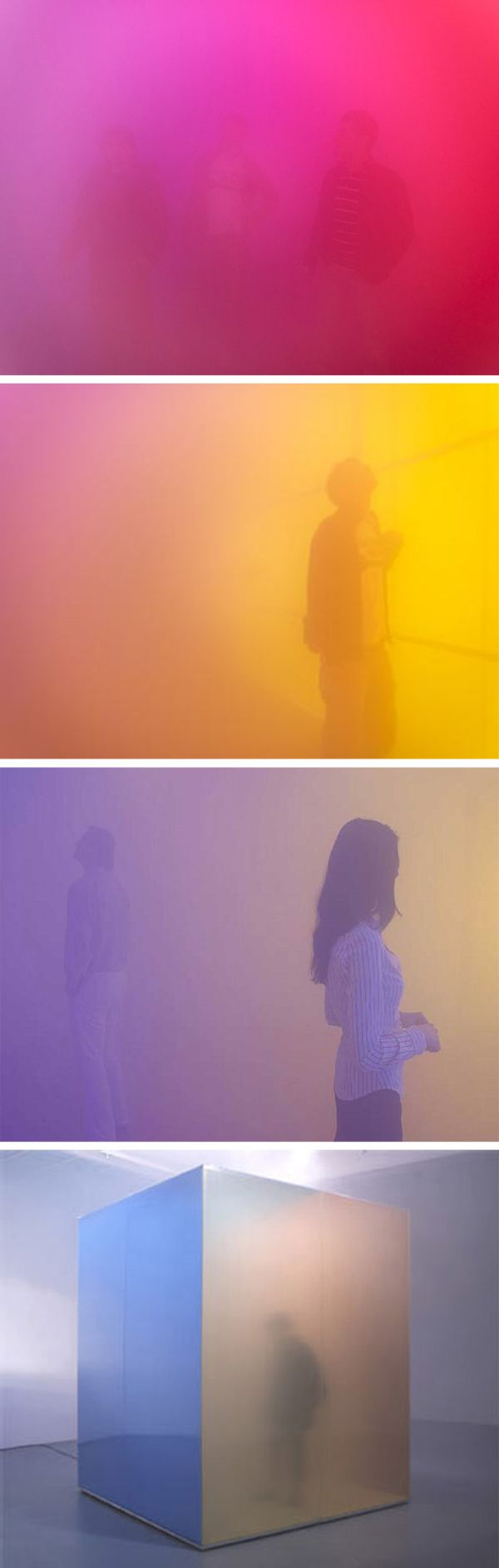 """Artist Ann Veronica Janssens constructs sensorial sculptures of polycarbonate walls covered by transparent films which are filled with dense mist.  Visitors to her """"spatio-temporal experiences"""" find their perception saturated and transformed by the colorful fog."""