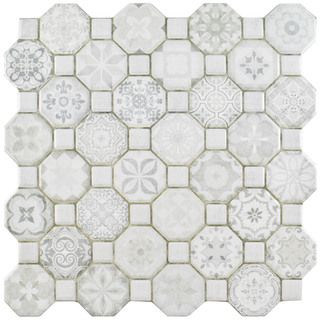 The SomerTile 12.25x12.25-inch Tesseract White Ceramic Floor and Wall Tile is a dramatic union of old-fashioned elegance and modern artistry. It has octagons in a variety of pale gray old-world patter