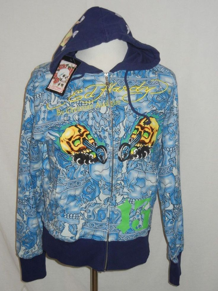 New Ed Hardy by Christian Audigier HOLLYWOOD HOODIE Skull Motorcycle Tattoo