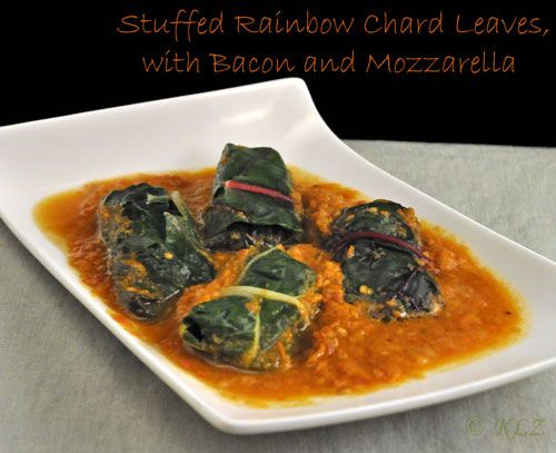 Stuffed Rainbow Chard Leaves with Bacon and Mozzarella
