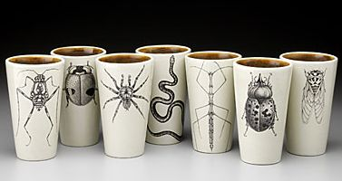Laura Zindel-Lauterbach, bug dishes, (I love the spiders) original drawings are printed with enamel then made into a ceramic transfer.