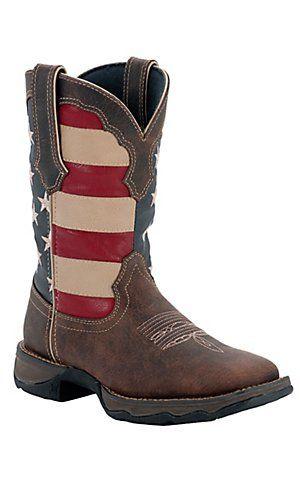 Durango® Rebel™ Ladies Dark Brown w/ American Flag Top Square Toe Western Boots | Cavender's Boot City