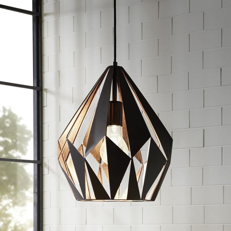 Eglo Black and Copper Cage Pendant - Lounge And Hallway Lighting from Dusk Lighting UK