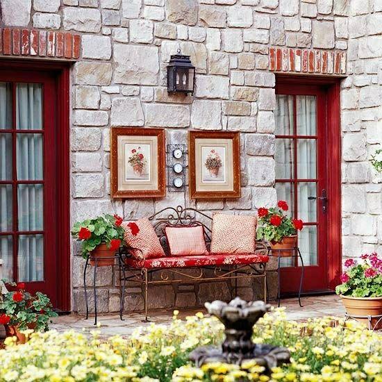 Landhausstil Garten rote Ideen Blumenkasten