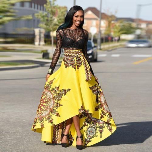 Yollow-African-Skirt-Dashiki-Print-Women-Boho-High-Waist-Floral-Beach-Maxi-Dress