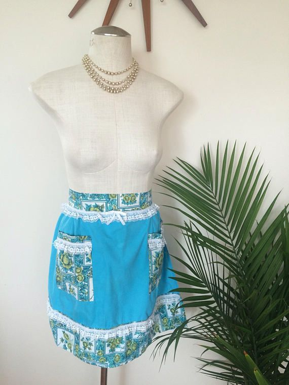 Vintage Hostess Apron, turquoise with gold roses, white lace (by Mz Jones Boudoir)
