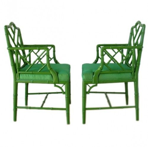 Bambooserie chairs, circa 1960 above, have a grass-green lacquered finish with silk upholstered seats. Available through Fat Chance.