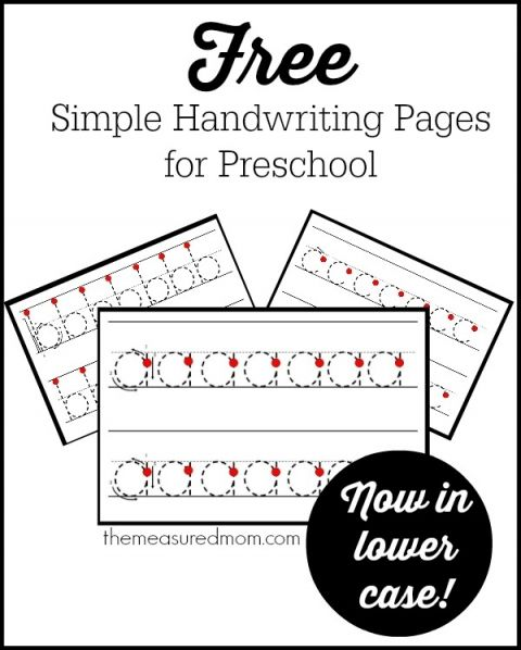 I don't think preschoolers should do a lot of handwriting practice, but these lowercase handwriting worksheets are perfect.