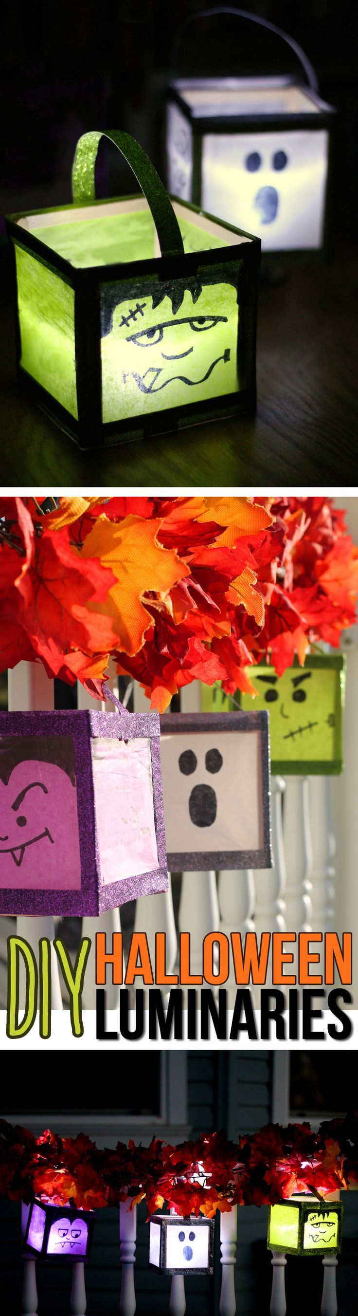 Make these cute Halloween luminaries for the front porch. An easy craft using glitter washi tape, wooden craft sticks and tissue paper. These Halloween decorations look good day AND night!