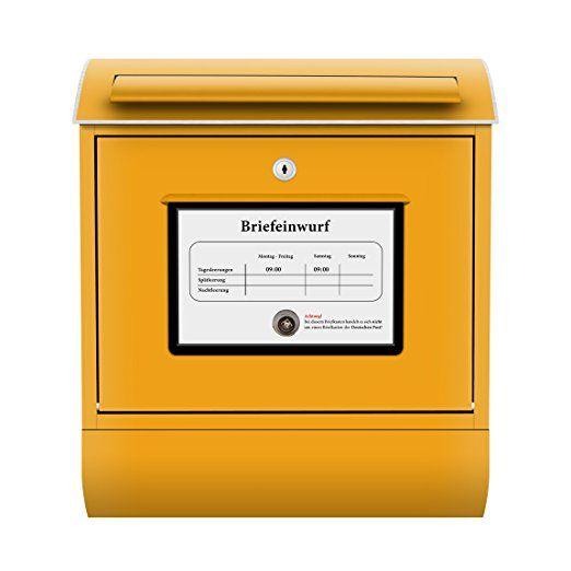 Design Briefkasten Postkasten | Briefe Post Päckchen Sendung Gelb, Postkasten mit Zeitungsrolle, Wandbriefkasten, Mailbox, Letterbox, Briefkastenanlage, Dekorfolie: Amazon.de: Garten