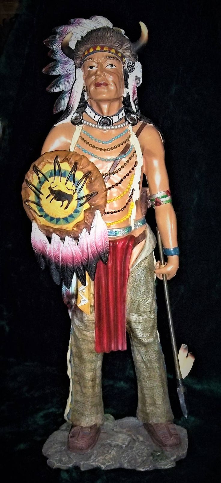Large Native American Indian Chief Warrior Statue ...