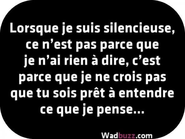 Lorsque je suis silencieuse, ce n'est pas parce que je n'ai rien à dire. C'est parce que je ne crois pas que tu sois prêt à entendre ce que je pense.