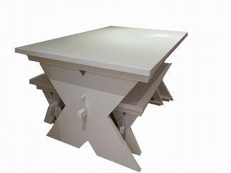 Scandinavian pine table and bench set.