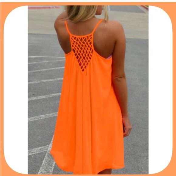 NWT Summer Orange Crochet Racerback Dress This is a vibrant, lightweight dress in a gorgeous summer color! Wear it with some pretty gladiators or flip flops for a beautiful look! Very versatile! Boutique Dresses Mini