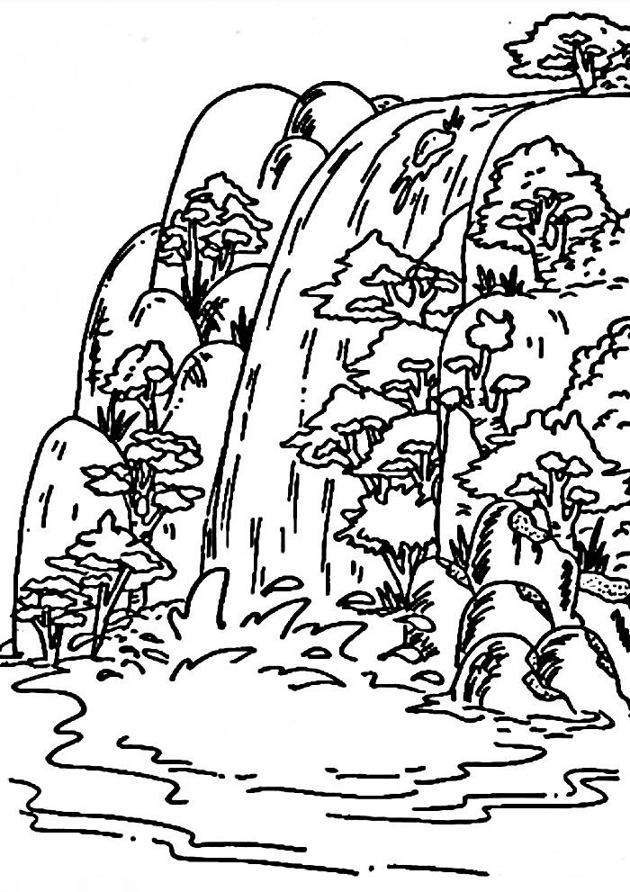 Waterfall Coloring Pages Coloring Pages Adult Coloring Pages