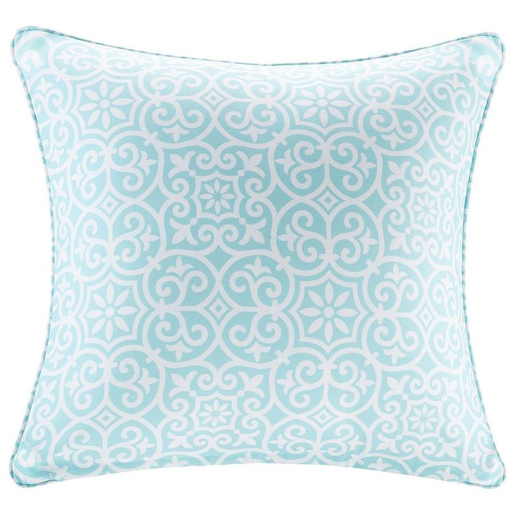 Madison Park 3M Scotchgard Outdoor Medium Throw Pillow, Turquoise/Blue (Turq/Aqua)