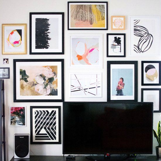 How to plan and hang up a gallery wall.  Sources for art included!