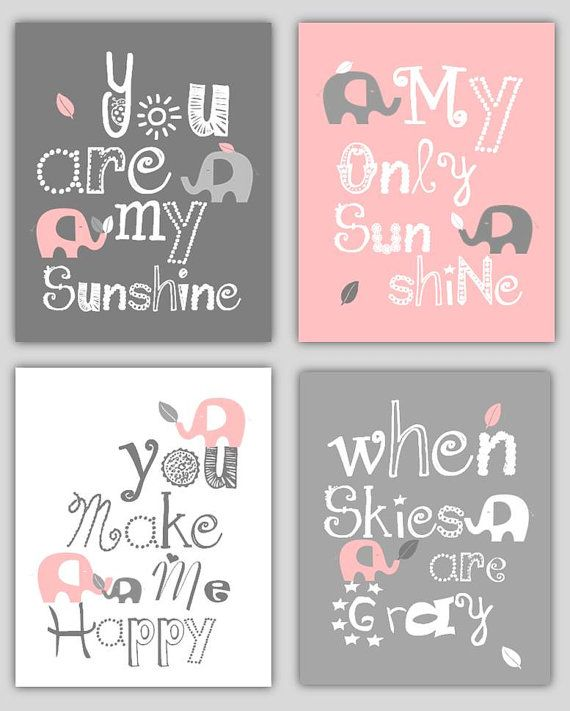 Kids Wall Art Pink and Gray Nursery Decor Prints by LittlePergola, $55.00