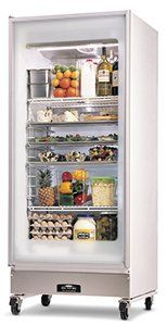 Arctic Air GDR22CWR Glass Door Merchandiser Reach-in Refrigerator 1 Swing Door Hinged on Right 32 Wide with Casters