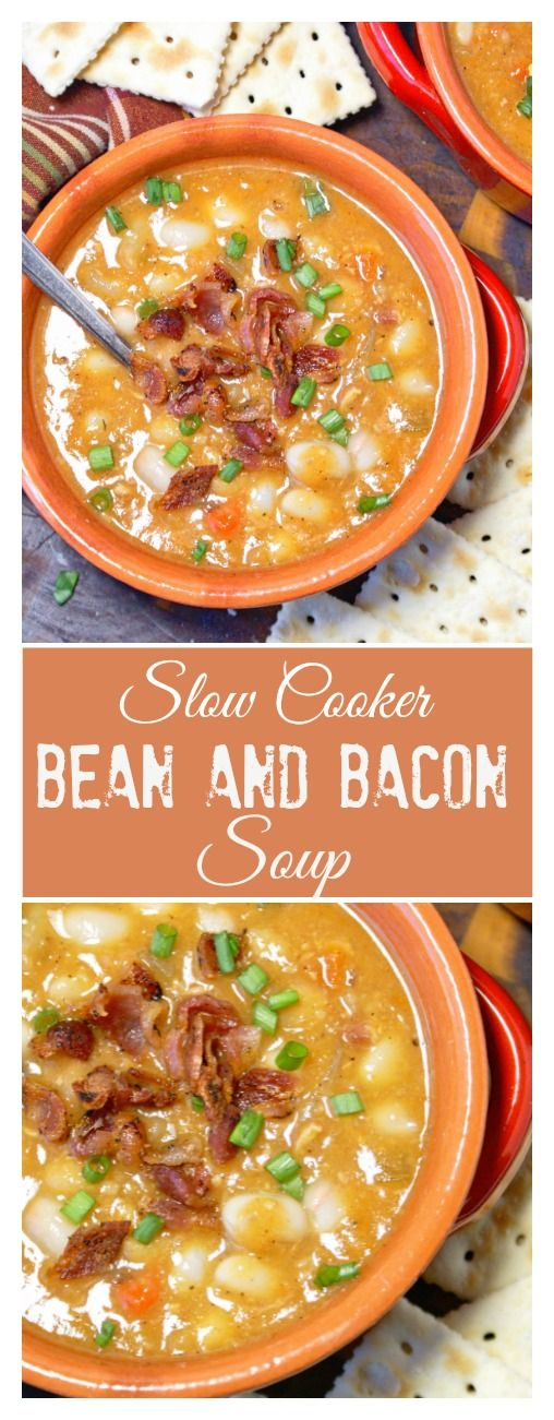 This slow cooker bean and bacon soup recipe is super hearty and flavorful!