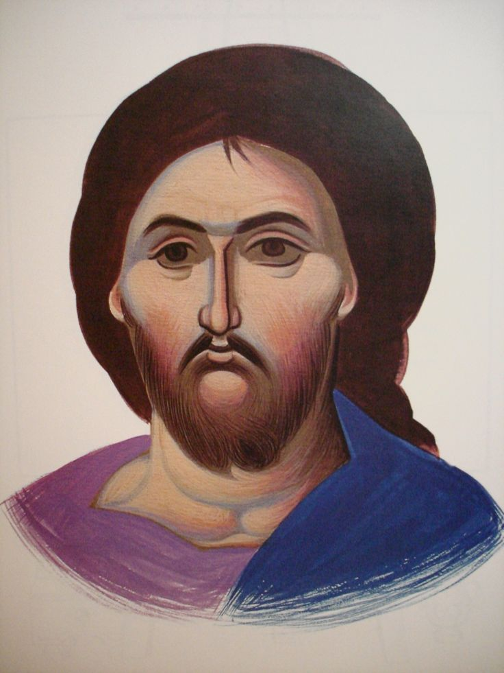 Face of Christ.  Style of Panselinos. Version 2. Stage 4.