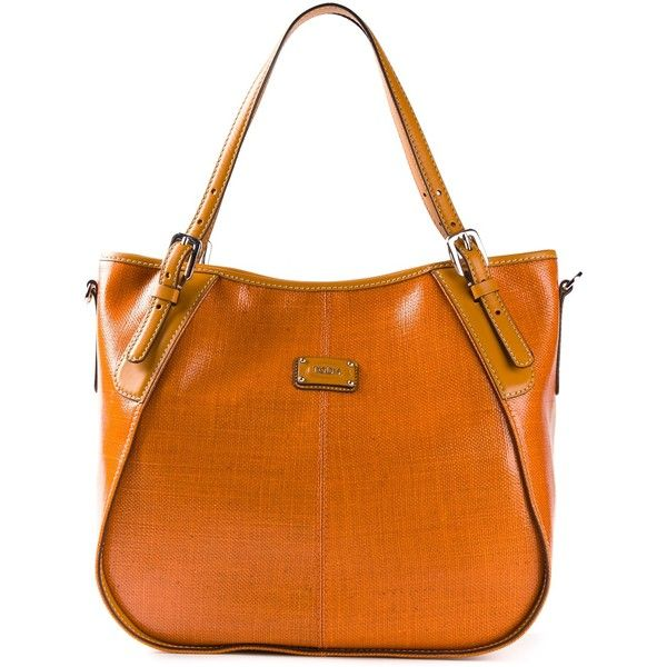 TOD'S 'G line' tote ($410) ❤ liked on Polyvore featuring bags, handbags, tote bags, orange leather purse, orange purse, genuine leather handbags, orange tote bag and leather purses