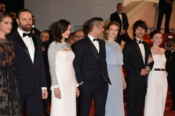 "Jessica Barden Photos Photos - Ariane Labed,Yorgos Lanthimos,Rachel Weisz,Colin Farell,Léa Seydoux,Ben Whishaw and Jessica Barden attend the Premiere of ""The Lobster"" during the 68th annual Cannes Film Festival on May 15, 2015 in Cannes, France. - 'The Lobster' Premiere - The 68th Annual Cannes Film Festival"