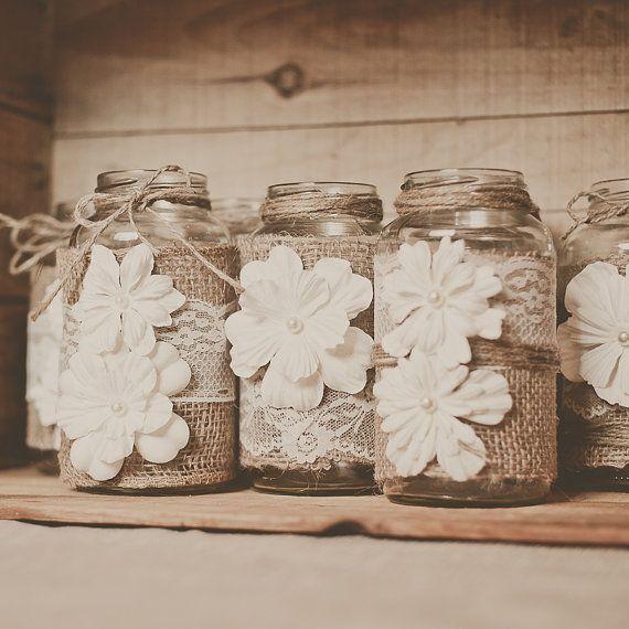 Best burlap wedding centerpieces ideas on pinterest