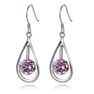 Silv fine amethyst crystal 925 sterling silver charms earring transparent dark…