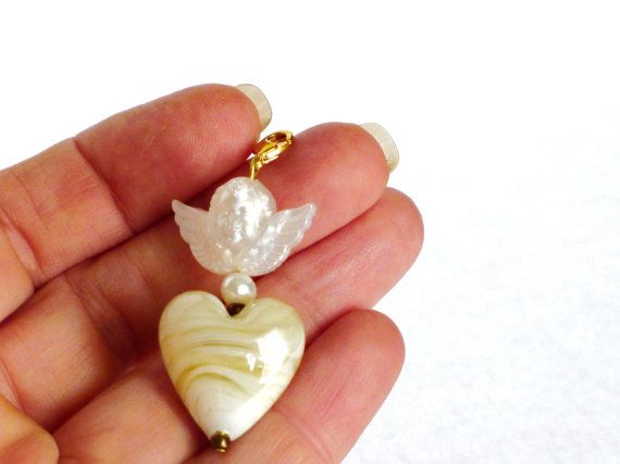 Schutzengel Kettenanhänger Engel Charm weiß gold von LonasART