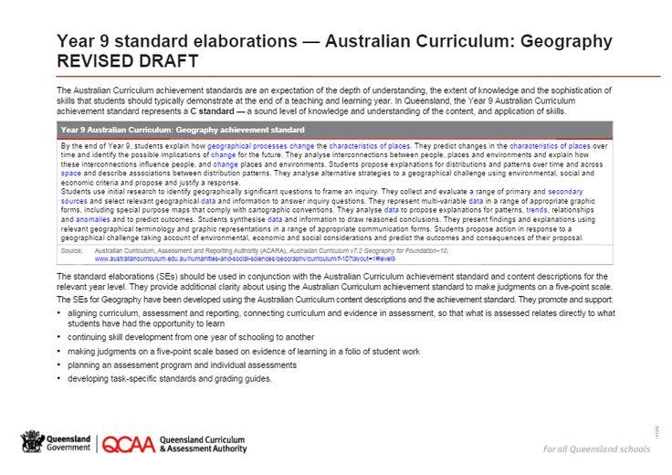 Year 9 Geography standard elaborations
