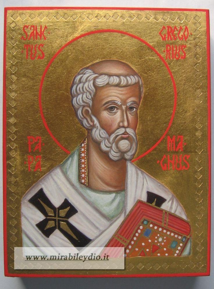 Icona di San Gregorio Magno .Per mano di Cristina Capella-31-10-2016-(13 x 17 cm) -www.mirabileydio.it