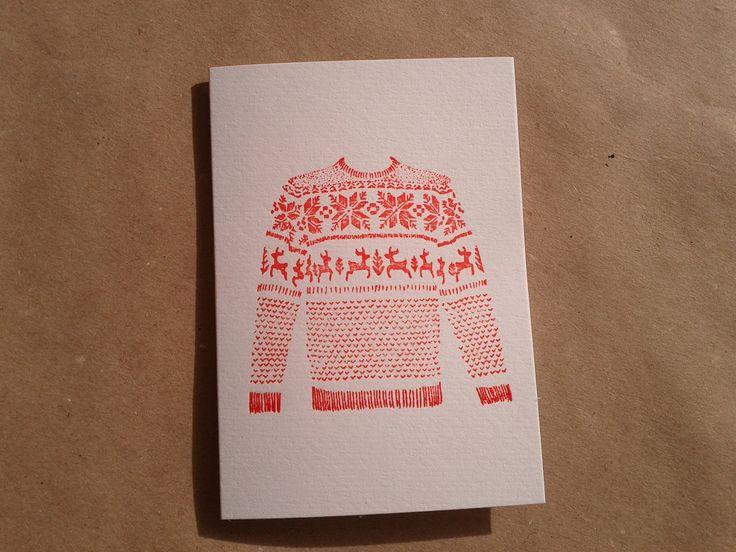 Letterpress Christmas Card - Xmas Jumper (A7 size, blank inside). £3.00, via Etsy.