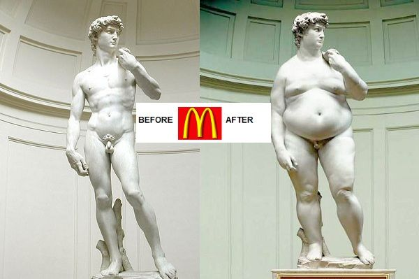 Michelangelo's David: Before and After McDonald's: Funny Things, Funny Pictures, Fitnessexerci Weightloss, Funny Bones, Funny Stuff, Fitspo Health, Fast Food, Weights Loss