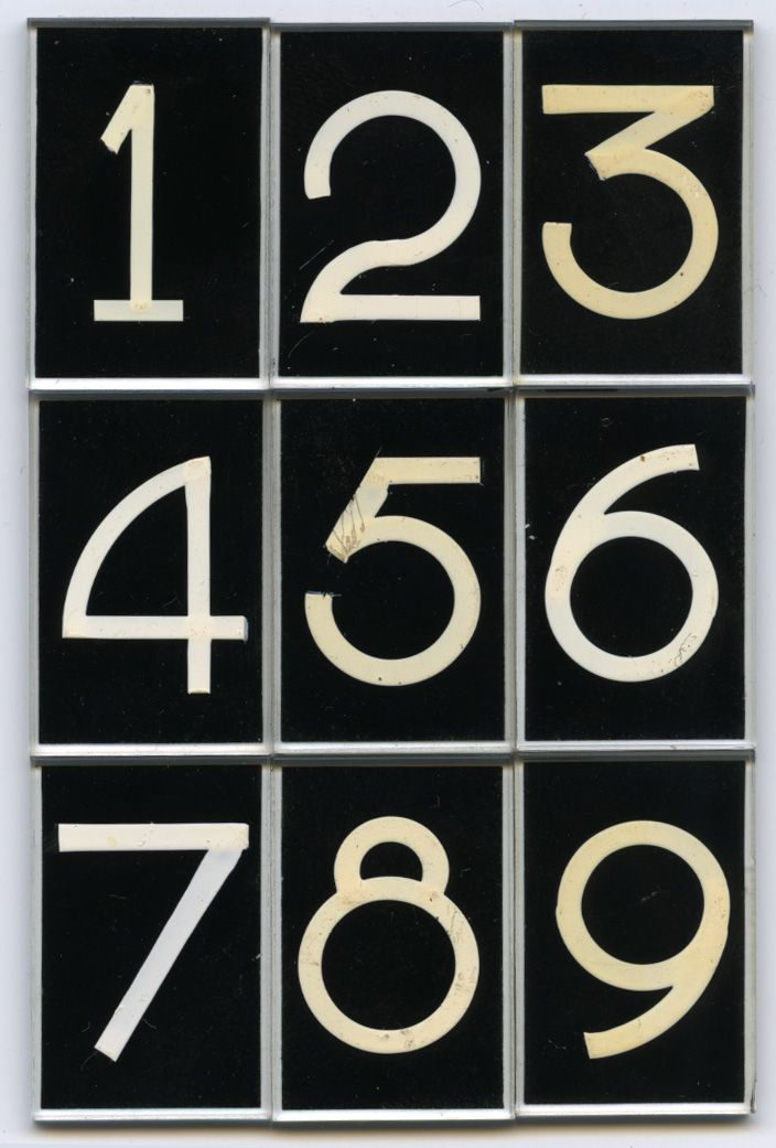 "Glass lettering by Pootjesglas, Hilversum, circa 1960. Font name ""DIK CIJFER"", Size #3, white on black. Collection Piet Schreuders"