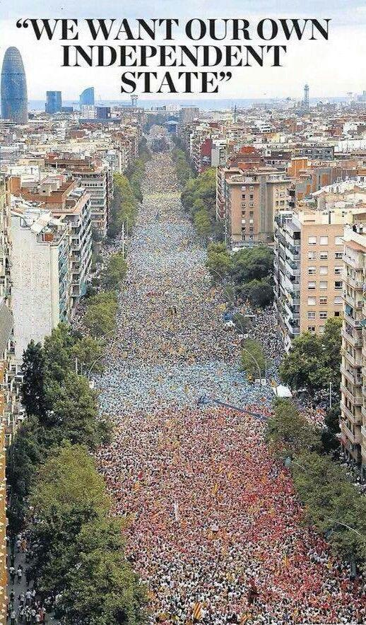 Huge demonstration in Barcelona, the capital of Catalonia on September 11, 2015