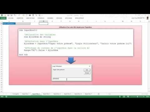 Excel VBA - Comment utiliser la boite de dialogue  InputBox