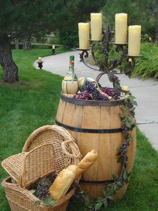 Wine Themed Wedding presentation ideas at cocktail hour / http://www.deerpearlflowers.com/35-creative-rustic-wedding-ideas-to-use-wine-barrels/2/
