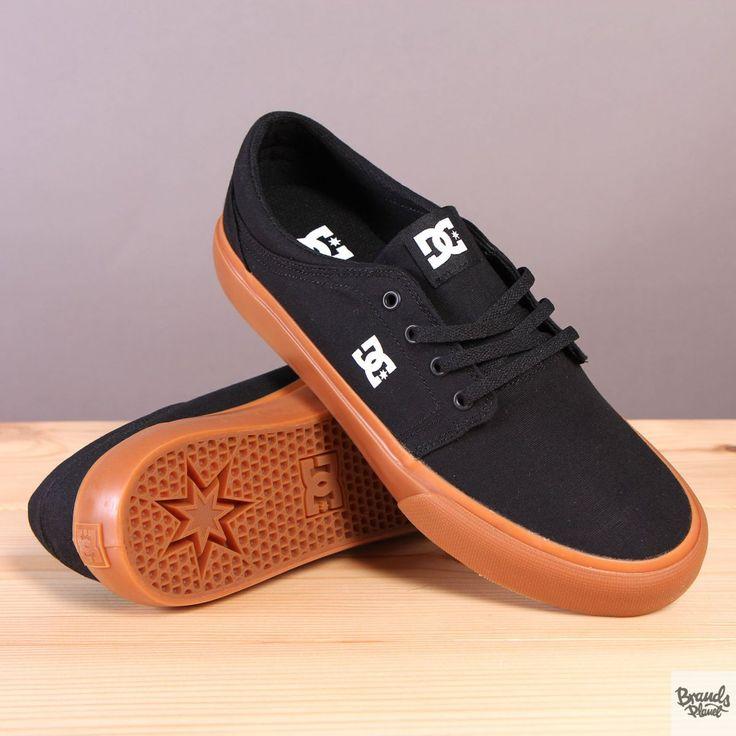 Czarne trampki męskie na brązowej podeszwie DC Trase TX Black / Gum  / www.brandsplanet.pl / #dc shoes #dc trase
