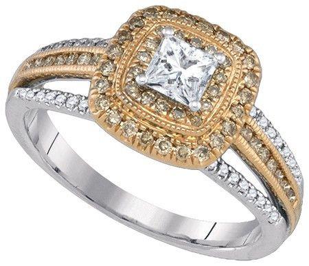 14KT White Gold 0.79CTW COGNAC DIAMOND 0.33CT-CPR BRIDAL SET: Rings