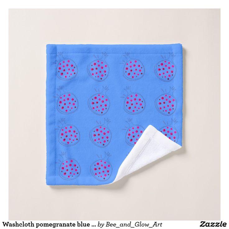 Washcloth pomegranate blue pink